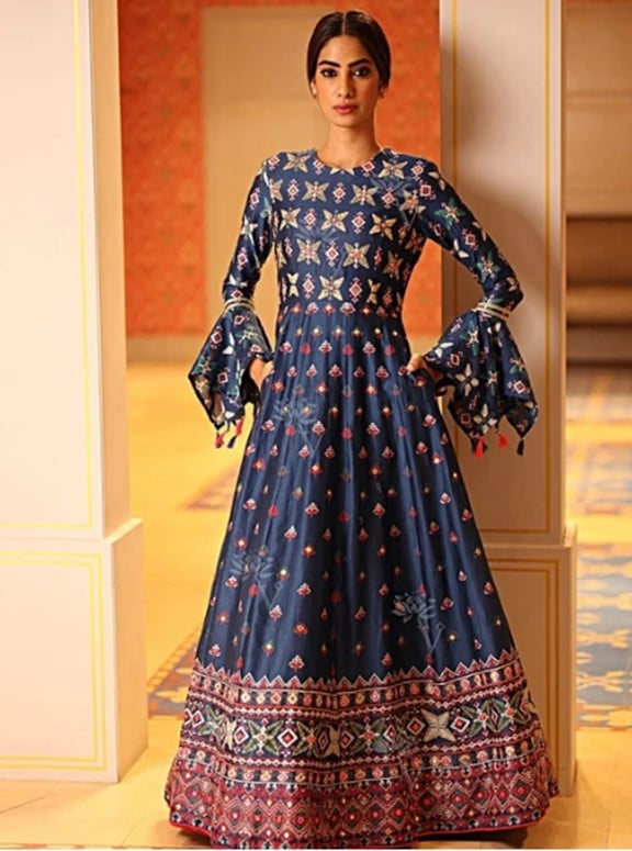 Blue Chanderi Silk Gown