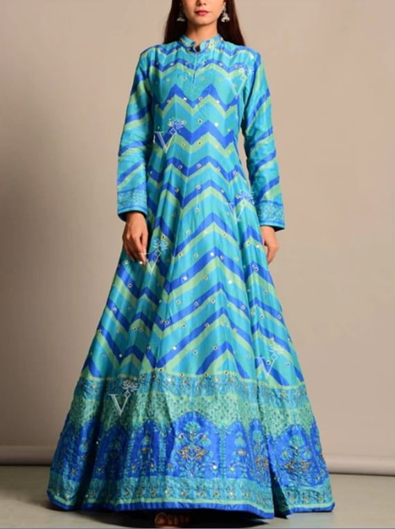 Blue Vasansi Silk Leheriya Anarkali Gown
