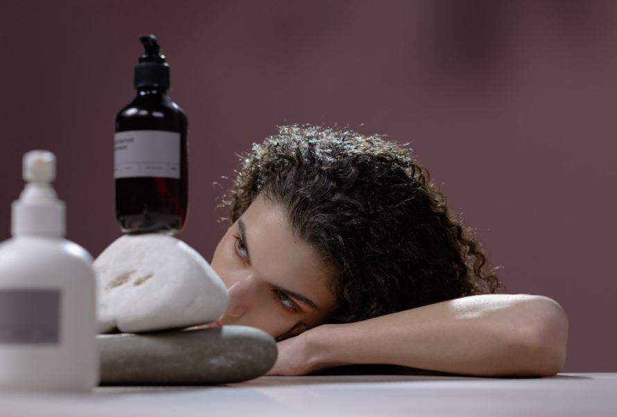 Woman with shampoo